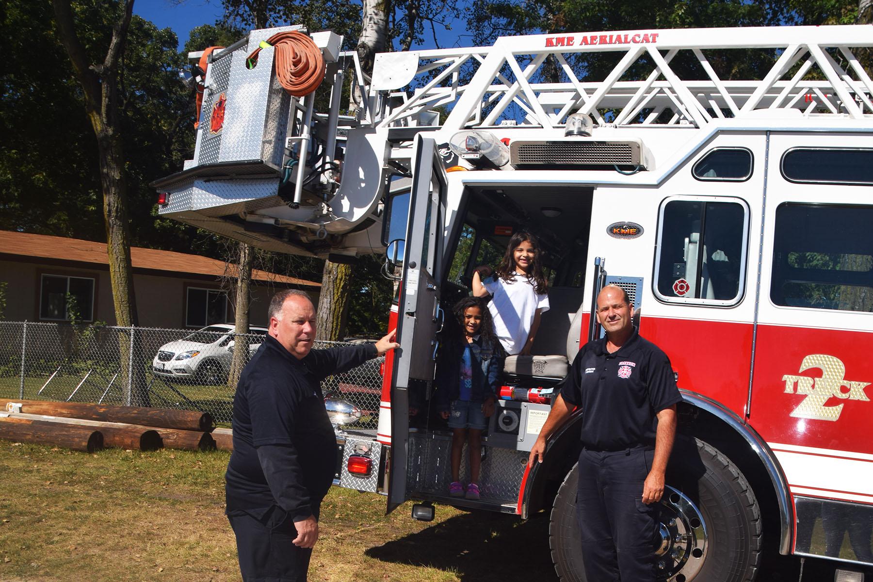 firetruck with kids